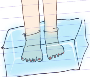 A cartoon of a pair of feet in a block of ice